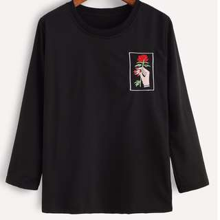 black hand and rose embroidered shirt