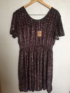Printed Dress, with Satin Belt