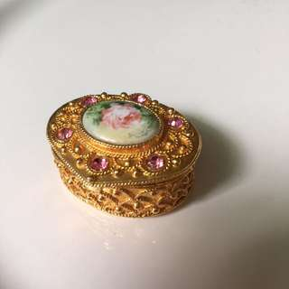 Florenza Vintage Gold Trinket Box