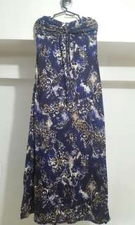 Dark purple floral maxi dress with changing necklines