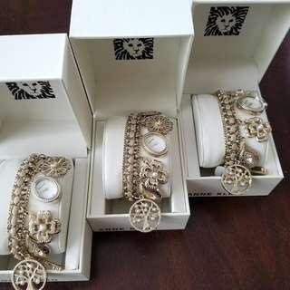 Anne Klein Gold Charm bracelet watch
