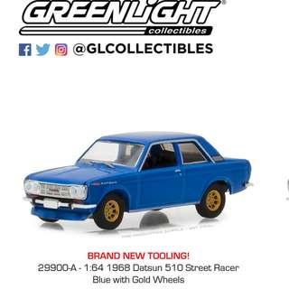 Greenlight 1:64 Tokyo Torque Series 2 - 1968 Datsun 510 Street Racer - Blue with Gold Wheels