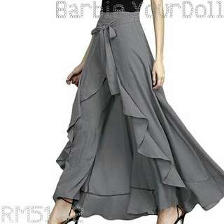 Maxi Skirts Wide Leg Pants Women Ruffle