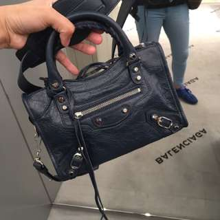 Balenciaga City mini navy blue