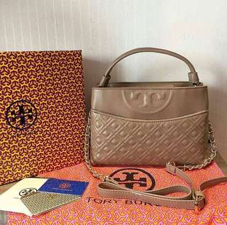 Tory burch Fleming Leather Satchel Spring Summer.