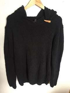 Black Knitted Sweater with Hood