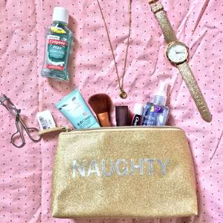 Naughty/Nice Glitter Gold Pouch