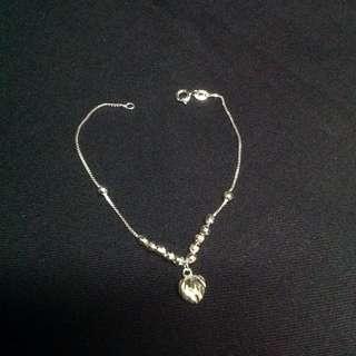 Genuine 925 Sterling Italy Silver Shimmering Heart & Balls Bracelet