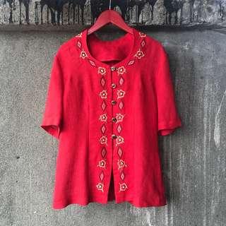 🚚 可愛古著 刺繡紅花短袖襯衫