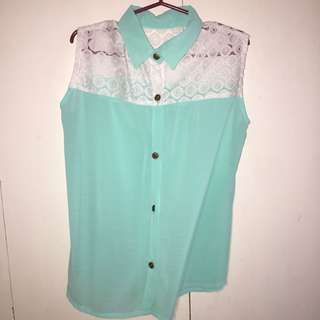 Mint Sleeveless Blous