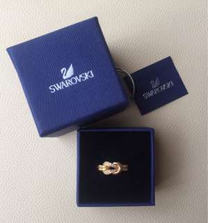 Cincin Swarovski gold plated - infinity ring - 100% ori