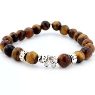 Men's Tiger Eye Good Luck Antique Elephant Stone bracelet - Silver Elephant Brown Tiger Eye Stone Bead Size 8mm