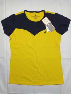 Yellow with dark blue lining polo shirt