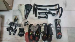 Road components sales: Hbar/stems saddles shoes, BB, tools, bottle cages