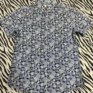 Kemeja shirt batik minarno size L navy