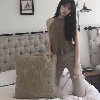 Khaki Knitted Tie Top