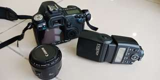 Canon 50D + flash light 430 + 50mm (free bag)  very seldom use