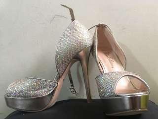 Glittered Rhinestone Peep-Toe Heels