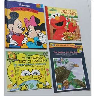 Lower Price! Set of 4 Children's Books, all for P100.00 (Sesame Street, Spongebob, Disney, Lampara story with moral lesson)
