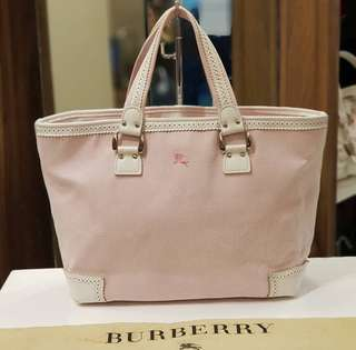 Authentic Burberry Canvas Pink Tote Bag