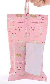 全新粉色日式可愛貓咪公仔可掛式紙巾套