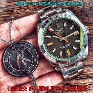多年舊鋪面交       Rolex Milgauss 116400gv-72400 40mm AR工廠新版 綠玻璃 面交 黑面