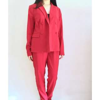 RED CO-ORD SUIT SET
