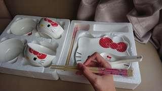 全新三麗鷗Sanrio-凱蒂貓HELLO KITTY優雅陶瓷餐具
