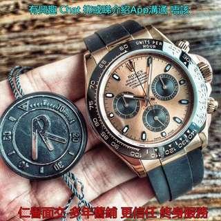 多年舊鋪面交       Rolex Daytona 116515 ln 玫瑰金膠帶版 40mm 金面 熊貓 AR工廠新版  粉面