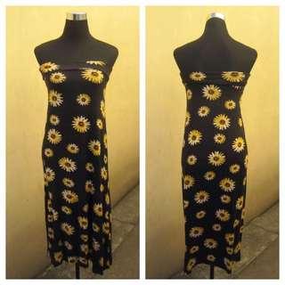 Sunflowers Tube Maxi Dress