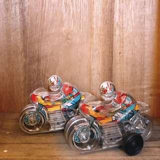 日本 早期收藏 全新庫存 透明 塑膠 摩托車 玩具 / 老玩具