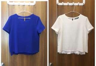 🚚 ♻️ Mango 假兩件式上衣(寶藍色/白色)
