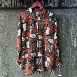 🚚 古著 古典印花橘襯衫