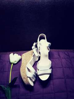 white and silver wedge sandals