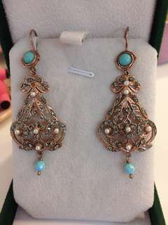 Seed pearls and CZ earrings with turquoise