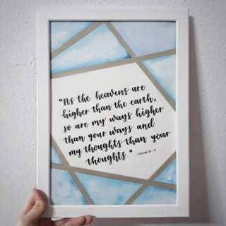 Personalised Frame Personalized Customised Customized Frames Wedding Gift Anniversary Gift Couple Teachers' Day Birthday Present Watercolor Watercolour Calligraphy Handwritten Bridesmaid Present Home Decor