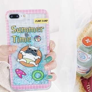 (C)手機殼IPhone6/7/8/plus/X : 夏日狗狗游泳流沙全包邊透明軟殼
