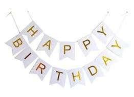 Happy birthday banner white