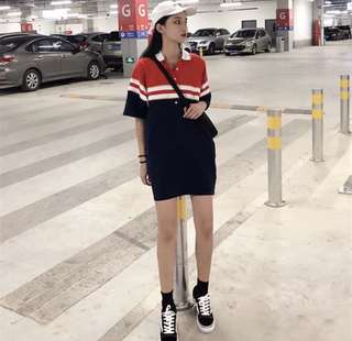 [PO 006] Colourblock collar buttoned oversized dress