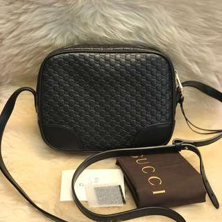 GUCCI BRAND NEW 449413 black Leather Micro GG Guccissima BREE Crossbody Purse Bag
