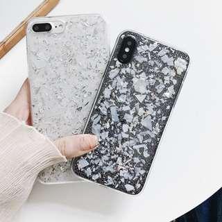 (C)手機殼IPhone6/7/8/plus/X : 銀箔閃粉貝殼紋全包邊透明軟殼