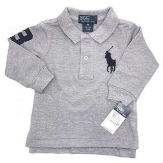 c1e70f31 AUTHENTIC Ralph Lauren Baby Boy Cotton Big Pony Polo Long Sleeve Shirt GREY  Size 3T 4