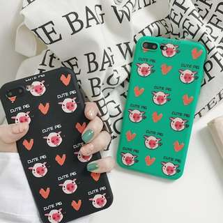 (C)手機殼IPhone6/7/8/plus/X : 情侶款可愛小豬全包邊磨砂軟殼