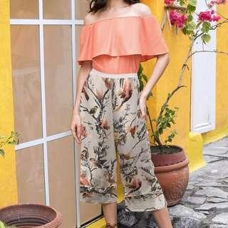 Plains & Prints Off - Shoulder Pantsuit