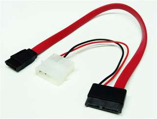 Slimline SATA to SATA data & 4-pin molex cable for slim optical drives