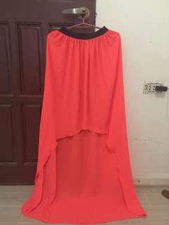 Long back neon skirt