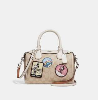Coach Mini Bennett Satchel with signature canvas Minnie Mouse patches