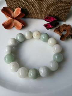 $18 Fixed Sales 13.2mm Type A Natural Jadeite Jade Beaded Bracelet