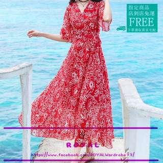 大紅色波西米亞風雪紡連身裙/海灘裙 Z8555