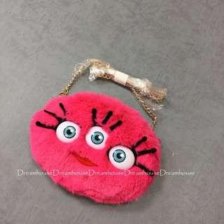 東京迪士尼 怪獸大學 毛球 粉色 絨毛 票卡夾 零錢包 斜背包 隨身小物包 金鍊條